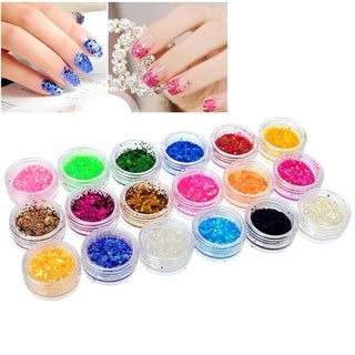 Zodaca 18-Color Classy Nail Art Idea Design DIY Tiny Hexagon Glitter Set