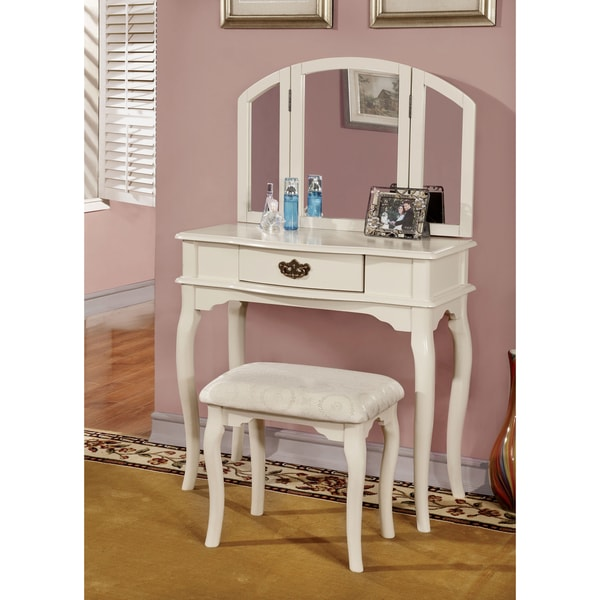 Furniture of America Mosie 2-Piece Solid Wood Vanity Table and Stool Set