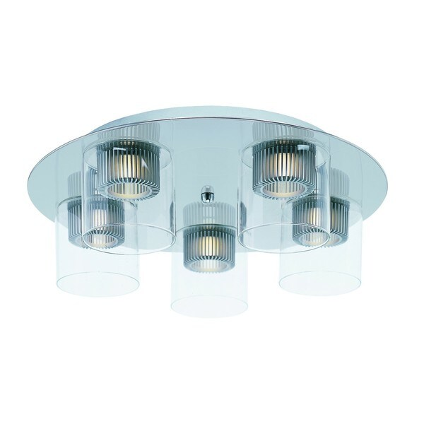 Cyborg Chrome 5-light Flush Mount