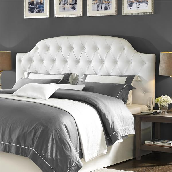White Faux Leather Button Tufted Headboard King Lyric 600 x 600