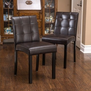 Christopher Knight Home Harkin Bonded Leather Dining Chairs (Set of 2)