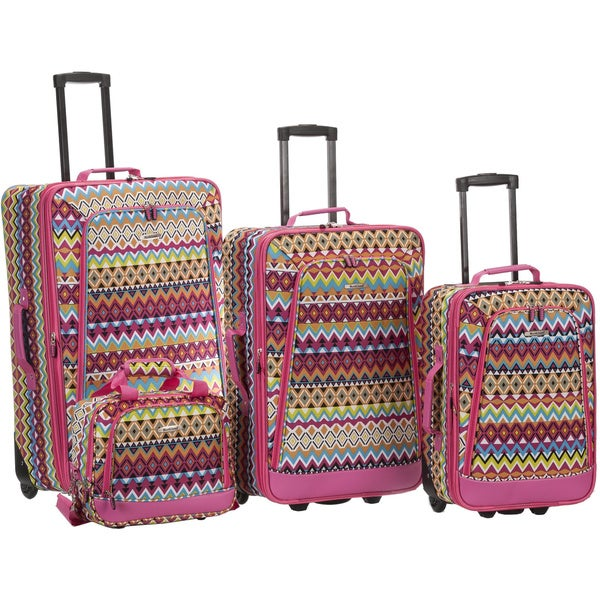 Rockland Tribal 4-piece Expandable Rolling Upright Luggage Set
