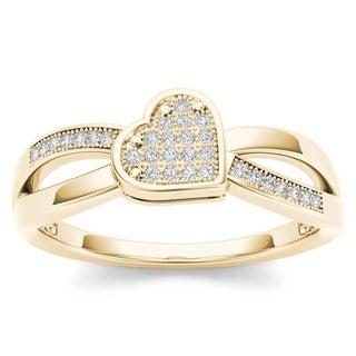 De Couer 10k Yellow Gold 1/10ct TDW Diamond Heart Ring (H-I, I1-I2)