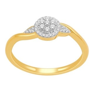 De Couer 10k Yellow Gold 1/8ct TDW Diamond Fashion Ring (H-I, I1-I2)