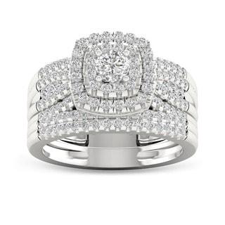 De Couer 10k White Gold 1ct TDW Diamond Bridal Set Ring (H-I, I2)