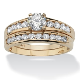 PalmBeach 2 Piece 1.06 TCW Round Cubic Zirconia Bridal Ring Set in 10k Gold Classic CZ