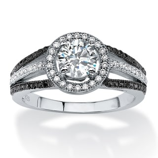 Palm Beach Platinum over Silver 1 1/2ct TGW Black and White Cubic Zirconia Ring