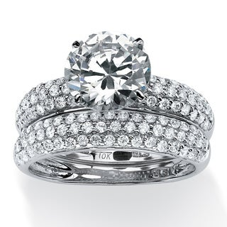 PalmBeach 2 Piece 3.28 TCW Pave Cubic Zirconia Bridal Ring Set in 10k White Gold Glam CZ