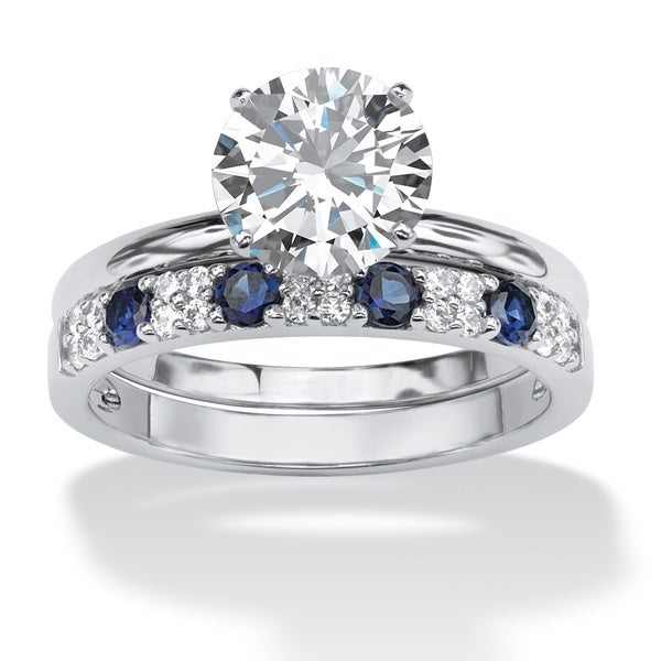 Palm Beach Platinum over Silver 2 3/5ct TGW Cubic Zirconia and Blue Sapphire Ring