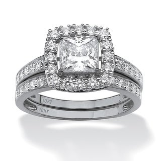 PalmBeach 2 Piece 1.93 TCW Princess-Cut Cubic Zirconia Square Halo Bridal Ring Set in 10k White Gold Glam CZ