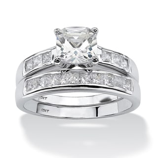 PalmBeach 2 Piece 1.94 TCW Cushion-Cut Cubic Zirconia Bridal Ring Set in 10k White Gold Classic CZ
