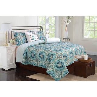 Zoey Cotton Teal 3-piece Quilt Set