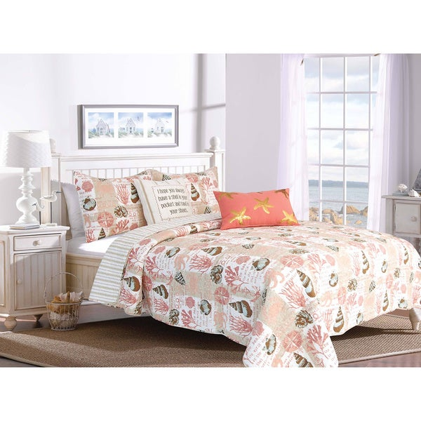 Tobago Cotton Coral/Tan 3-piece Quilt Set