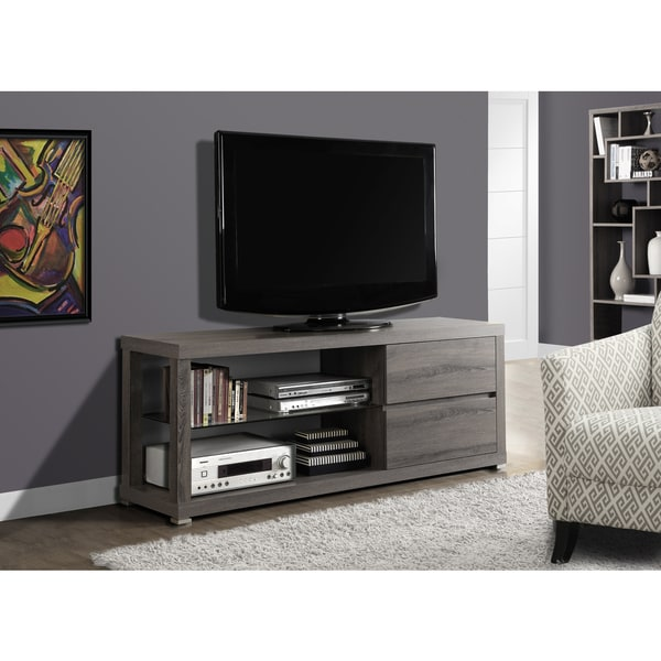 Dark Taupe Reclaimed-look 60-inch Tempered Glass TV Console 14472621