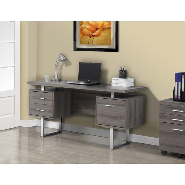 Dark Taupe Reclaimed look Silver Metal 60 inch fice Desk