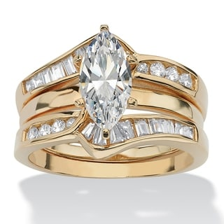 Palm Beach Gold over Silver 3 1/2ct TGW Cubic Zirconia Bridal Ring Set