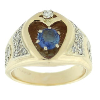 Suzy Levian Vintage 14k Yellow Gold 3/5ct TDW Diamond and Sapphire Heart Two-tone Ring