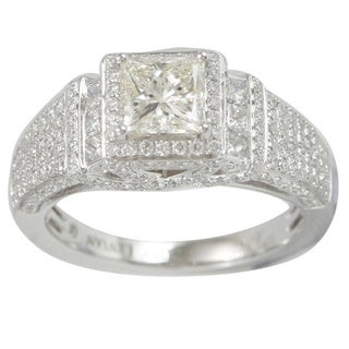 Suzy Levian 18k White Gold 2 1/10ct TDW Diamond Halo Engagement Ring