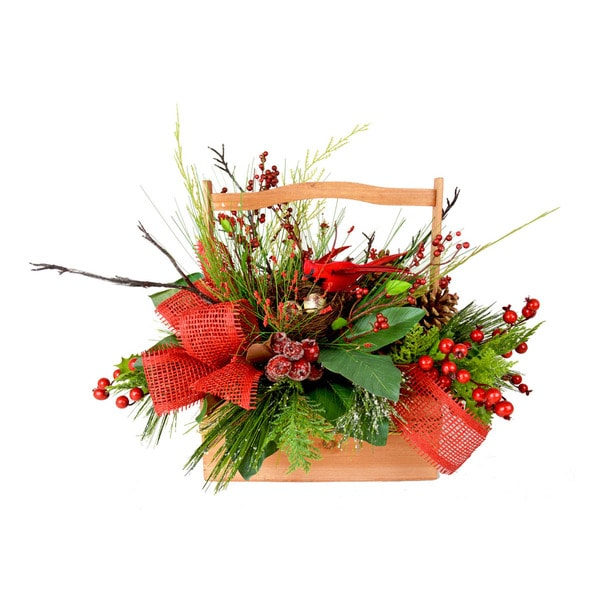 Berries and Greens Holiday Basket Decoration