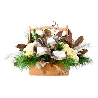 Holiday Hydrangea and Magnolia Leaf Wood Basket