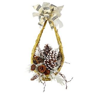 Gold Vine and Snow Flocked Pine Basket