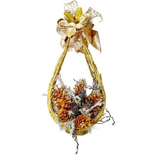 Gold Vine and Pinecone Basket
