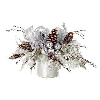 Snow Flocked Pine and Silver Arrangement