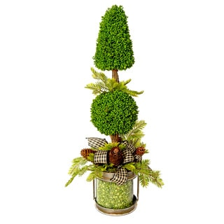 Green Pea Cone and Ball Topiary