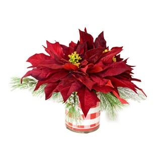 Poinsettia and Snow Pine Pot