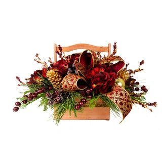 Burgundy and Gold Hydrangea Holiday Basket
