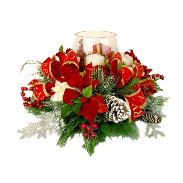 Christmas Poinsettia Candle Centerpiece
