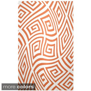 Decorative Abstract Geometric Wave Polyester Area Rug (4' x 6')