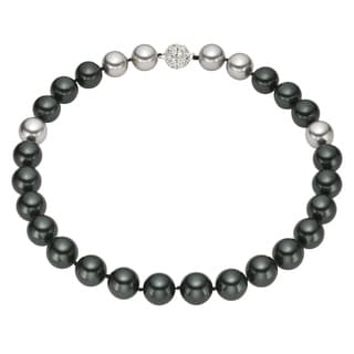 Round Black and Grey Shell Pearl Necklace (14 mm)
