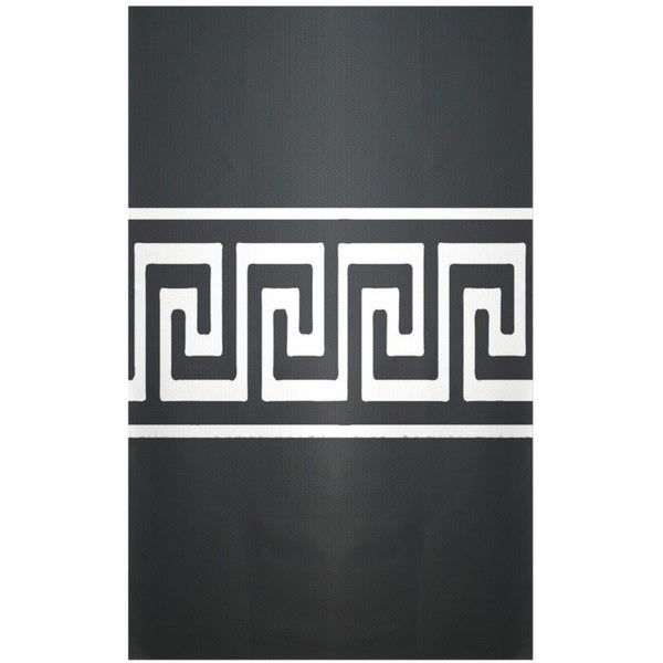 Decorative Geometric Black/ White Geek Key Area Rug (4' x 6')