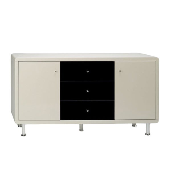 Somette Debbie Modern Beige and Black High Gloss Lacquer Buffet