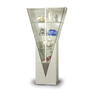 Modern Light Silver Mirrored Interior Triangular Curio Cabinet