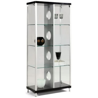 Modern Silver/ Black 2-door Glass Curio