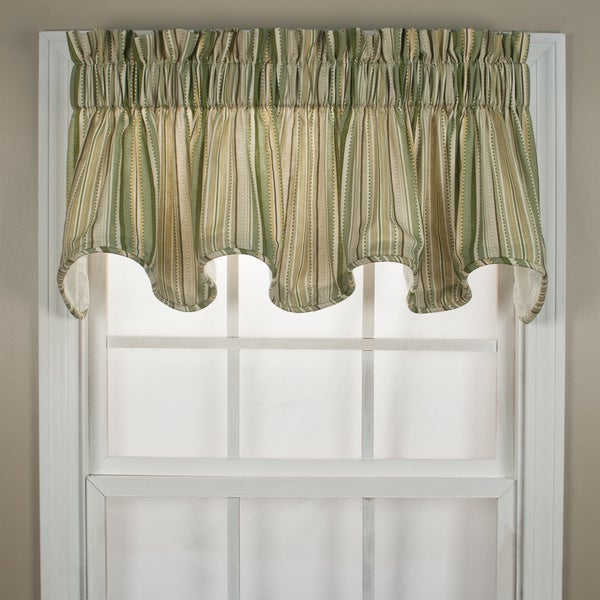 Kensington Green Stripe Window Valance