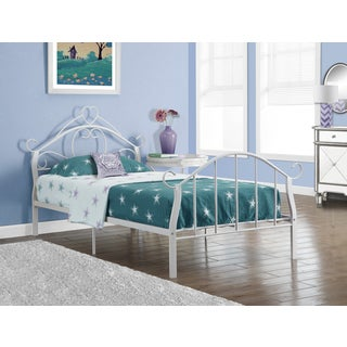 White Heart Metal Twin-size Bedframe