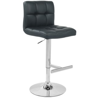Black Grid Adjustable Height Chrome Leg and Lever Swivel Bar Stool