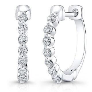 Platinum-plated Silver 1/2ct TDW Diamond Hoop Earrings