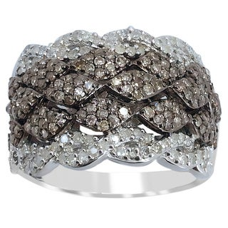 Sterling Silver 1 1/4ct TDW Diamond Wide Ring (H-I ,I2-I3)