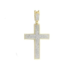 14k Yellow Gold 1/2CT TDW Diamond Cross Necklace with Pendant