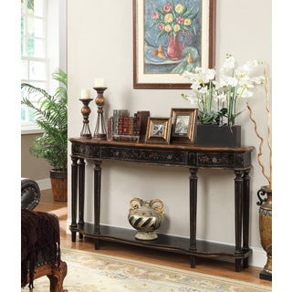 Enonville Scalloped 3-Drawer Console Table