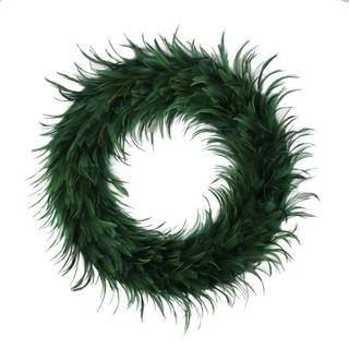 Hackle 24-inch Holiday Wreath Peacock Feathers