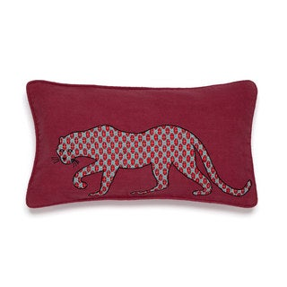 Collier Campbell Leopard Trail Red Decorative Throw Pillow