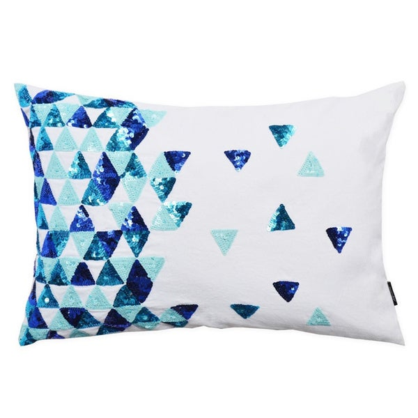 Broken Triangle Ocean Blue Limited Edition Decorative Throw Pillow