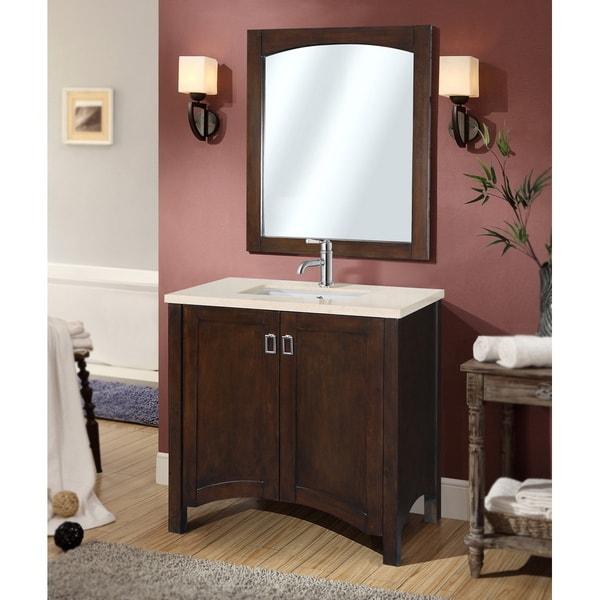 Contemporary 36 Inch Bellagio Beige Marble Top Single Sink Bathroom