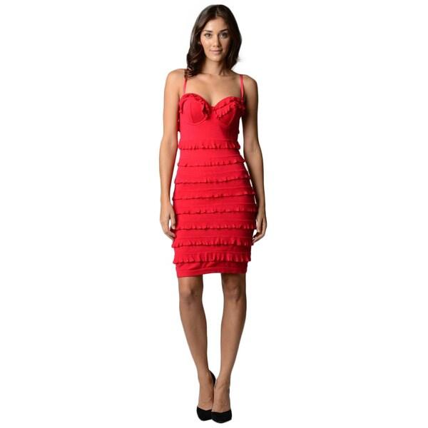 Sara Boo Women's Red Ruffle Dress