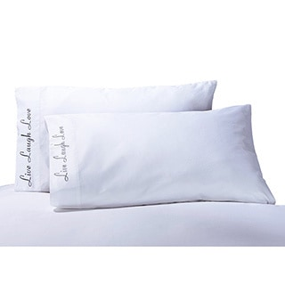 Cotton 'Live, Love, Laugh' Embroidered 500 Thread Count Pillowcase (Set of 2)